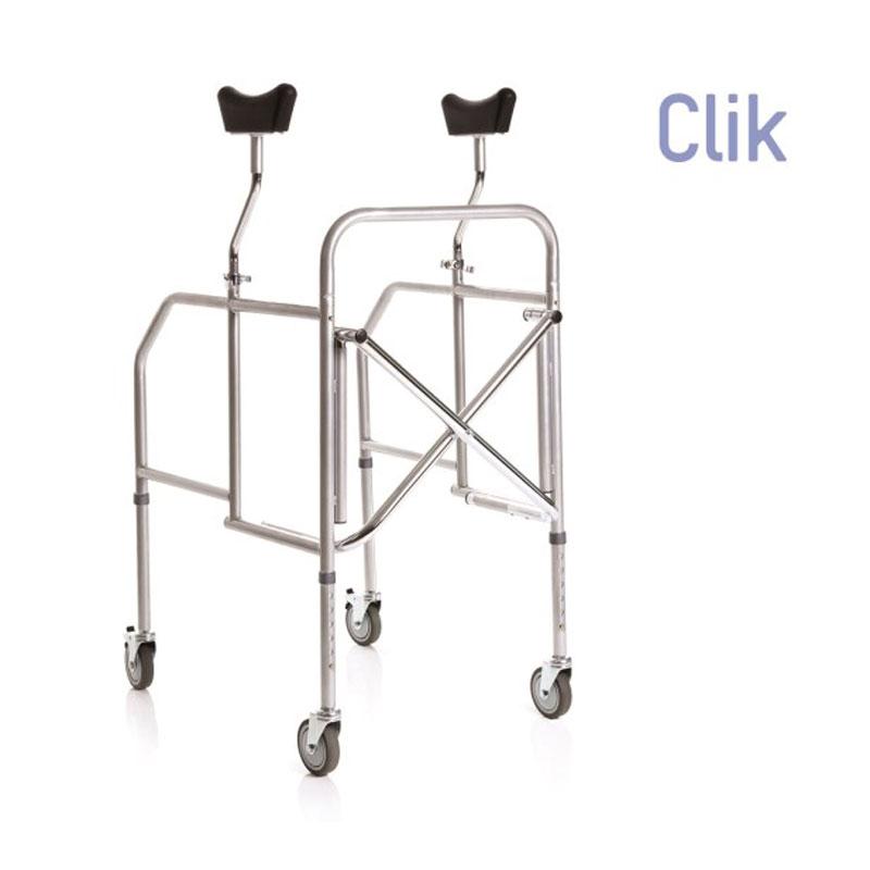 Deambulatore pieghevole con appoggio sottoascellare in acciaio verniciato - gambe regolabili in altezza