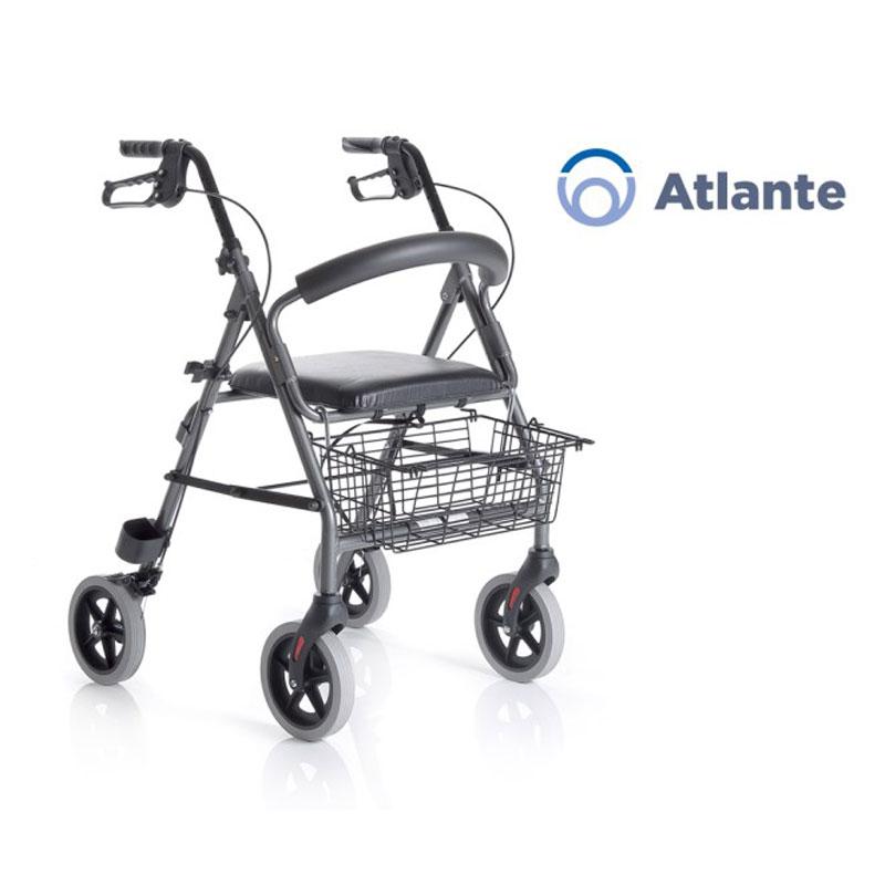 Rollator pieghevole in alluminio verniciato - 4 ruote - con seduta imbottita - Atlante